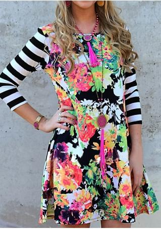 Floral Striped Splicing Mini Dress Without Necklace