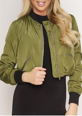 Pocket Zipper Long Sleeve Jacket