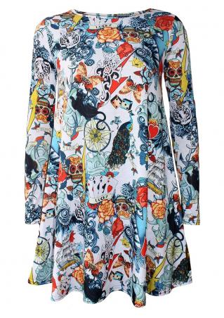 Halloween Printed Long Sleeve Dress