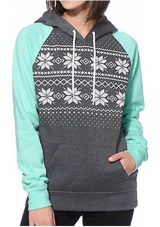 Geometric Printed Kangaroo Pocket Fashion Hoodie