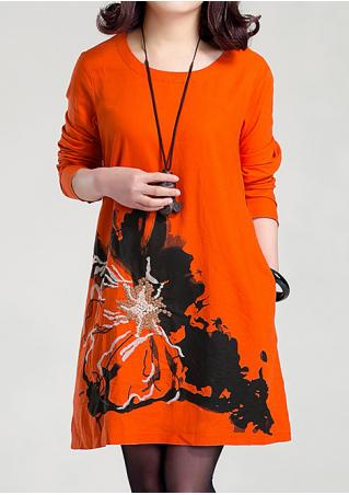 Embroidery Printed Casual Dress Without Necklace