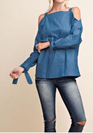 Solid Off Shoulder Tie Sleeve Denim Blouse