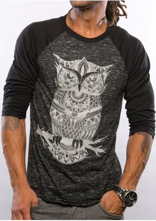Owl Printed Splicing Casual T-Shirt