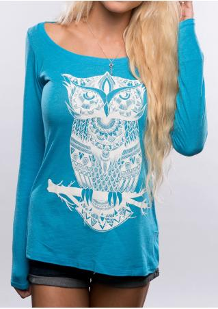 Owl Printed Casual T-Shirt Without Necklace