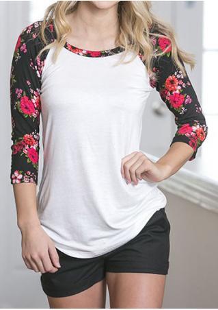 Floral Splicing O-NeckT-Shirt
