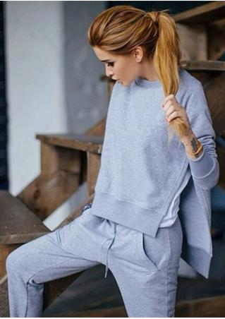 Solid Asymmetric Sport Sweatshirt and Pants Set