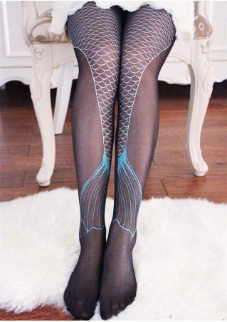 Mermaid Fishtail Printed Skinny Pantyhose