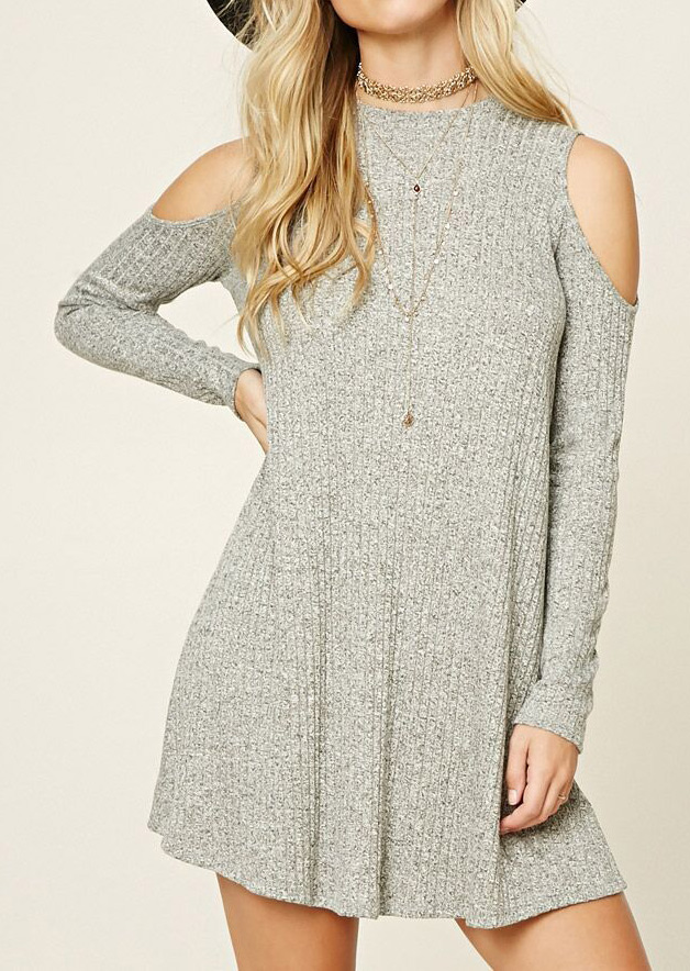 Off Shoulder Knitted Mini Dress Without Necklace 23662