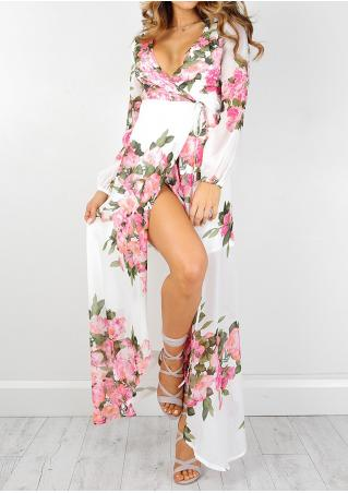 Floral Tie Maxi Dress Without Necklace