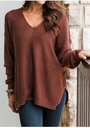Solid Slit V-Neck Long Sleeve Loose Sweater