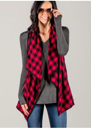 Plaid Asymmetric Sleeveless Jacket