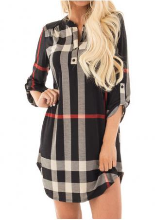 Plaid Tab-Sleeve Mini Shift Dress