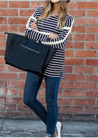 Striped Splicing Plus Size Blouse