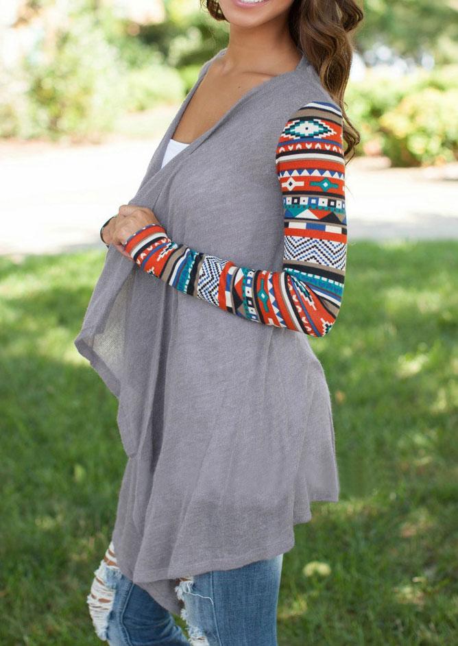 Geometric Drape Front Knit Cardigan
