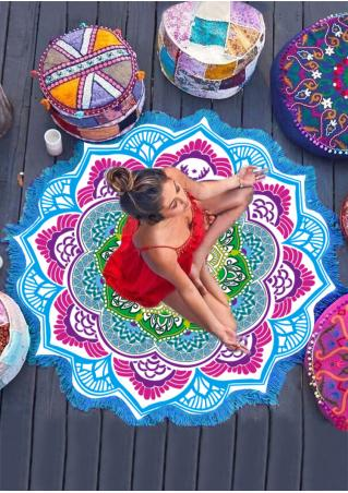 Mandala Lotus Flower Beach Blanket