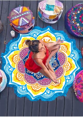 Mandala Lotus Shape Picnic Blanket