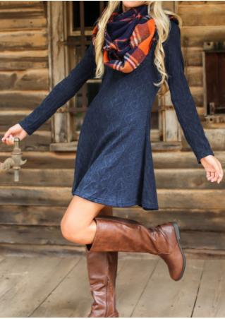 Knitted Back Zipper Long Sleeve Dress
