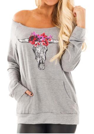 Cattle Head Printed Kangaroo Pocket Slash Neck Sweatshirt