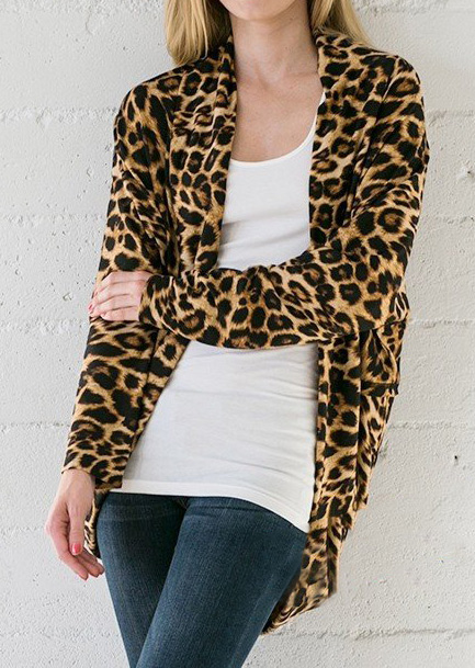 Leopard Printed Long Sleeve Cardigan - Bellelily