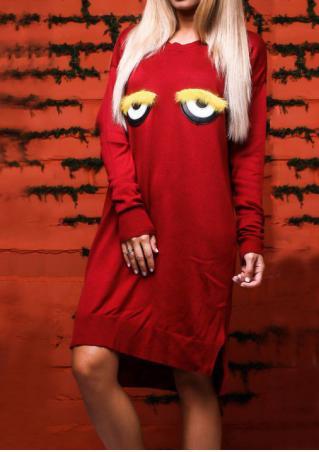 Eyes Printed Asymmetric Casual Dress