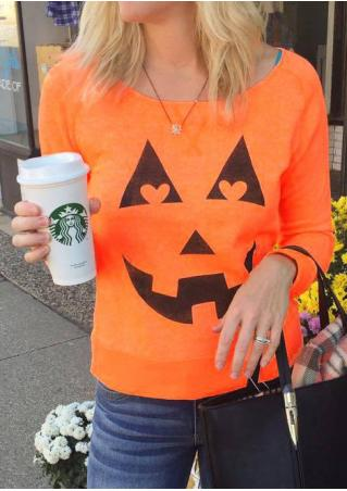 Halloween Pumpkin Printed Long Sleeve Sweatshirt Without Necklace