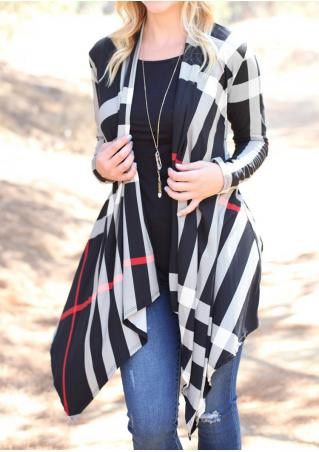 Plaid Asymmetric Long Sleeve Cardigan Without Necklace