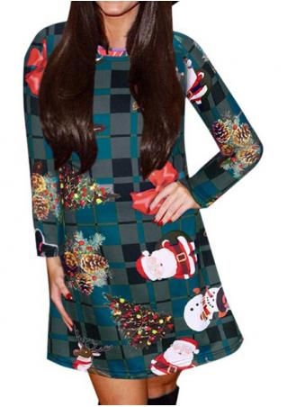 Christmas Multicolor Plaid Printed Mini Dress
