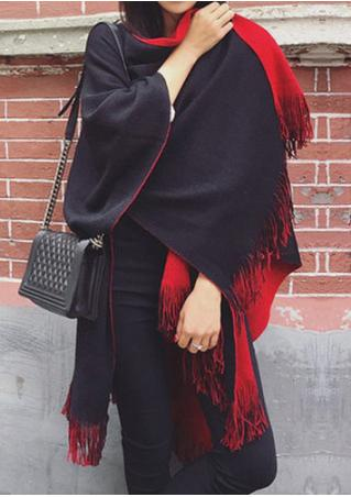 Solid Two Faced Knitted Poncho Shawl Scarf