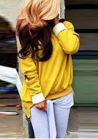 Pocket Slashed Elbows Asymmetric Sweatshirt
