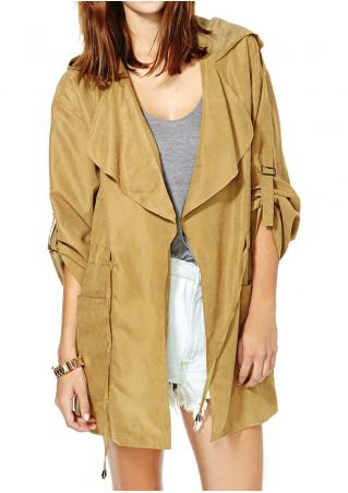 Solid Pocket Drawstring Hooded Coat Without Necklace