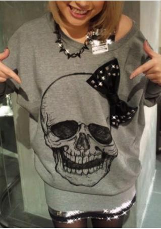 Skull Printed Bow Casual Blouse