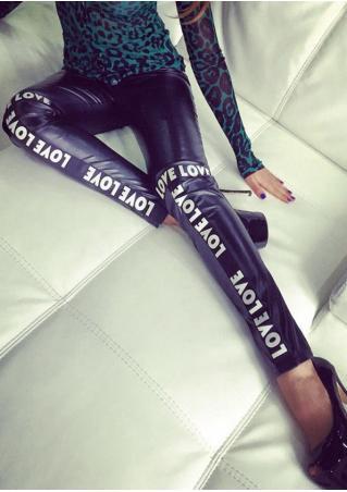 LOVE Printed Splicing PU Leather Skinny Pants