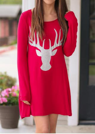 Christmas Sparkle Reindeer Printed Casual Dress
