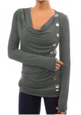 Button Ruffled T-Shirt