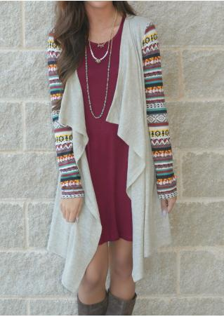 Printed Splicing Asymmetric Cardigan Without Necklace