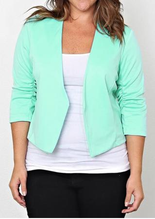 Solid Ruched Plus Size Blazer