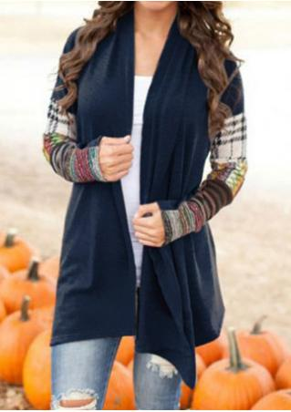 Splicing Printed Long Sleeve Cardigan