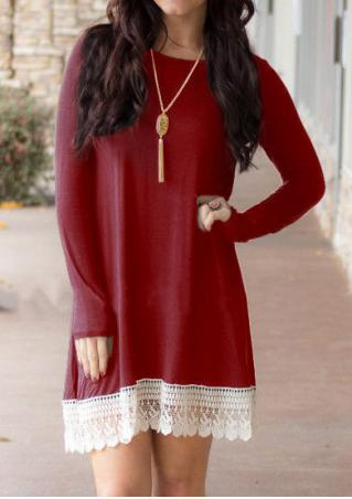 Lace Splicing Long Sleeve Dress Without Necklace