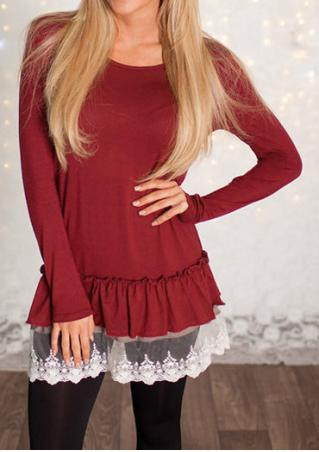 Lace Splicing Ruffled Long Sleeve Blouse