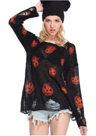 Halloween Pumpkin Printed Knitted Hollow Out  Blouse