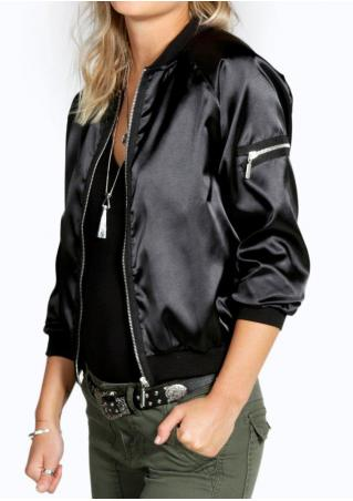 Solid Zipper Jacket Without Necklace
