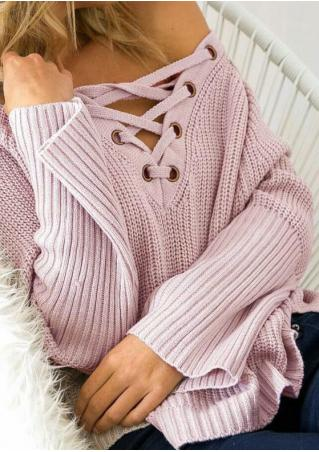 Solid Lace Up Asymmetric Sweater