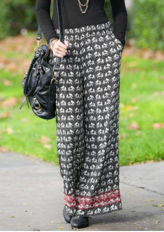 Printed Wide-Leg Casual Pants