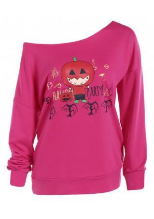 Halloween Pumpkin Letter Printed Slash Neck Sweatshirt