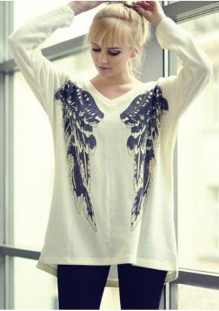 Wing Printed Asymmetric V-Neck Blouse