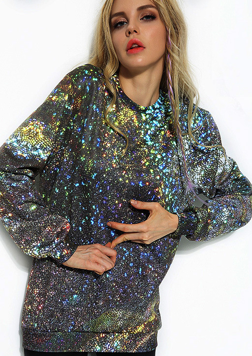 Starry Sky Printed Long Sleeve Sweatshirt 23966