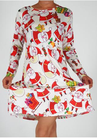 Christmas Santa Printed Casual Dress