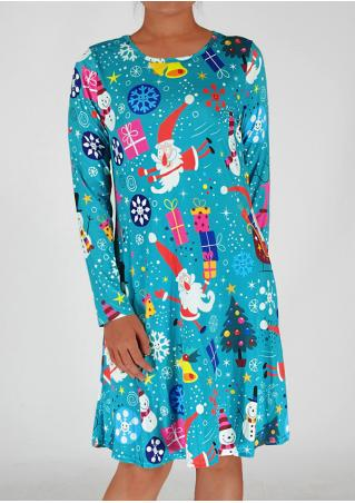 Christmas Cartoon Printed Casual Dress