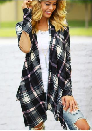 Plaid Elbow Patch Asymmetric Cardigan