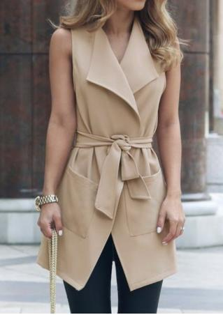 Solid Pocket Sleeveless Vest Coat With Tie